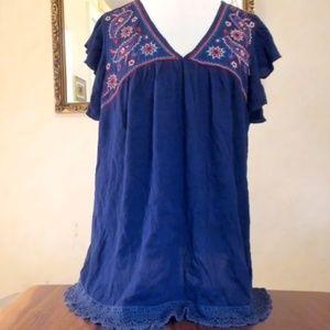 Blue Crinkle Short Sleeve Boho Blouse 1X
